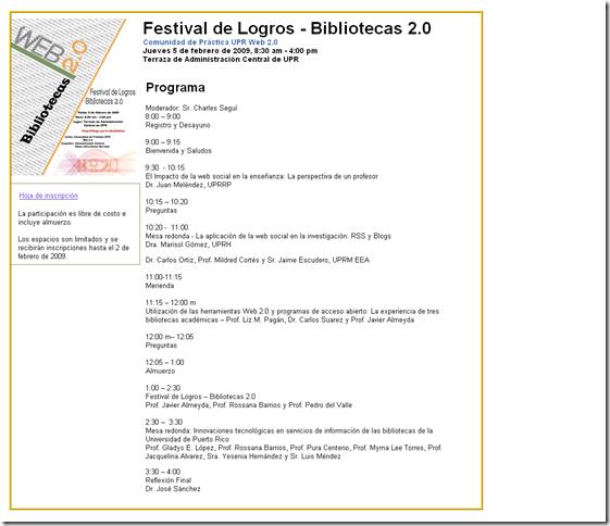 Programa - Festival de Logros 2009 - Biblioteca 2.0